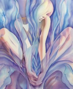 """Iris"" silk painting by Lena Korolyuk"