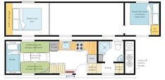 GOOSENECK trailer, designed for a large person family. Tiny House Trailer, Tiny House Plans, Tiny House On Wheels, House Floor Plans, Tiny House Layout, Tiny House Design, House Layouts, 2 Bedroom Floor Plans, Shipping Container Home Builders