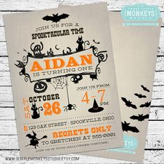 Vintage Halloween Birthday Invitation PLUS by 3LittleMonkeysStudio