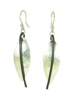 Slender Drop Earrings by Dennis Higgins. Elegant understated everyday silver and steel earrings. Metal Jewelry, Jewelry Art, Jewelry Design, Jewelry Ideas, Jewellery, Metal On Metal, Copper And Brass, Silver Drop Earrings, Metal Working