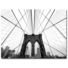 NYC Brooklyn Bridge by Nina Papiorek Photographic Print on Wrapped Canvas