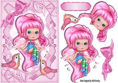 Cute pink candy faerie with little pink birds on Craftsuprint designed by Nick Bowley -  Cute pink candy faerie, with little pink birds, lots of other pretty faeries to see - Now available for download!