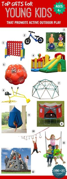 Fun Gift Ideas for Young Kids, Ages 4+ That Will Promote Active Outdoor Play, Exercise, Healthy Habits and Strong Relationships Among Siblings.