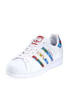 Superstar Multicolor Stripe Sneaker, White by Adidas at Neiman Marcus. White Platform Sneakers, White Flat Shoes, White Leather Shoes, White Sneakers, Leather Sneakers, Adidas Superstar, Best Sneakers, Adidas Sneakers, Shoes Sneakers