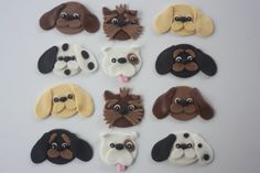 Fondant cupcake toppers--assorted dogs, puppies