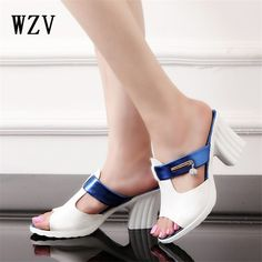 8b243b27763 WZV 2017 women With crude Summer Sandals women s Pure color Fish mouth sandals  Fashion leisure joker