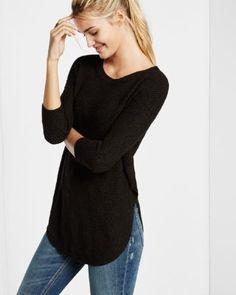 Black Size L shaker knit circle hem sweater