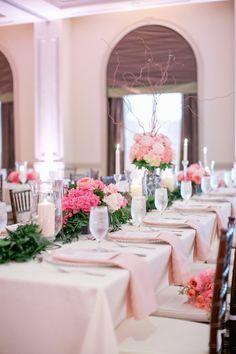 Pretty pink and blue themed wedding at The Westin Savannah Harbor, photos by Harwell Photography | via junebugweddings.com