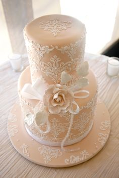 Peach Lace Cake by Paula at 'Sweet and Simple Cakes'  http://www.sweetandsimple.com.au/wedding.html / PolkaDotWeddings