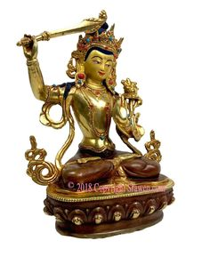 Home Decor Details About 9 Tibet Buddhism Silver Wenshu Manjushri Boddhisattva Hold Sword Seat Statue Grade Products According To Quality