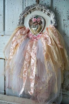 Large silver plate art wall hanging shabby chic reclaimed trays embellished tulle pink w/ satin design ooak home decor anita spero design