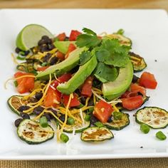 These Skinny Zucchini Nachos are the perfect healthy party dish. Full of flavor, these light bites are bound to be a hit at your next get-together!