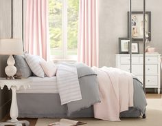 I love this! I want gray with light pink for my room but I ws thinking pink bedding and grey sheets? those curtains are fab-u-lous!