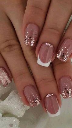Nail Design Glitter, Silver Nail Designs, Short Nail Designs, Nail Designs Spring, Glitter Nail Art, Acrylic Nail Designs, Nail Art Designs, Classy Nail Designs, Neutral Nail Designs