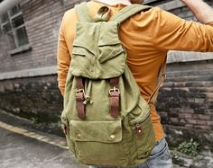 army rucksack Size: 30*15*48 cm Canvas Messenger Bag, Canvas Backpack, Army Rucksack, Bradley Mountain, Leather Backpack, Backpacks, Bags, Men, Shopping