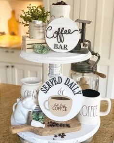 """New 3D coffee bar signs ☕️ These signs are the perfect addition to your farmhouse tiered trays and coffee bar. Choose.. ☕️ 5"""" coffee bar shiplap round - painted white with black 3D laser cut lettering. """"Coffee"""" lettering is hand drawn by myself. Round is made from 1/4 baltic birch wood and Coffee Bars In Kitchen, Kitchen Tray, Coffee Bar Home, Kitchen Signs, Kitchen Decor, Coffe Bar, Coffee Tray, Coffee Cup, Morning Coffee"""