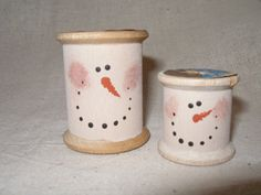 Wooden Spool Snowmen Grade 3/4 Art  {Christmas Project}