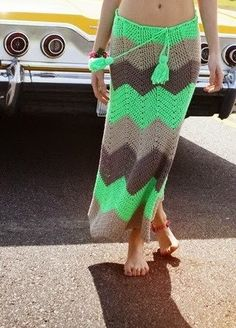 Crochet Skirt Long Skirt Gypsy Skirt ZigZag by idafrompushkin (i would put a lining and a jersey knit -yoga pants style- waistband on top)