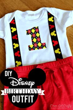 Create a unique Disney Birthday Outfit for your little one - on the cheap! Birthday Highchair, Elmo Birthday, 1st Birthday Outfits, Disney Birthday, Dinosaur Birthday, First Birthday Parties, First Birthdays, Dinosaur Party, Birthday Ideas