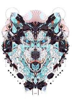 utilizare el rostro de un animal pero con diseño tribal y efectos de acuarelas para la portada de mi portafolio