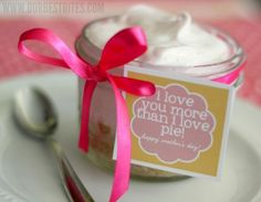Frozen Lemonade Pie in a Jar with a Mother's Day Printable from Our Best Bites.