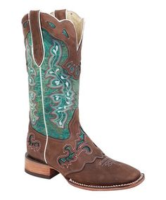 This Bonanza Boots Brown & Green Embroidered Saddle Cowboy Boot by Bonanza Boots is perfect! #zulilyfinds