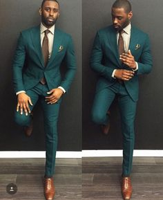 Green suit and brown shoes. www.ScarlettAvery.com