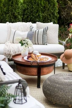 I really like this table, why didn't I see this before I bought the one from . A multipurpose patio reveal with dining and lounging areas. Room to grow, eat and visit. Lush greenery and photos showing the different design arrangements. Outdoor Rooms, Outdoor Living, Outdoor Furniture Sets, Outdoor Decor, Furniture Ideas, Deck Furniture, Outdoor Lounge, Outdoor Seating, Bedroom Furniture