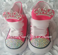 Custom Swarovski Crystal Rhinestone Custom Converse Shoes - Princess  Birthday - Princess Converse Sh e86e0f9d0c