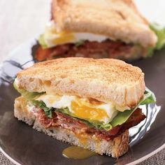 BLT Fried Egg-and-Cheese Sandwich sounds like a great way to add protein to a BLT.  I think Dad might like this!