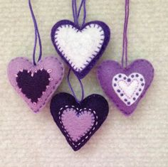 Christmas heart ornaments Purple, Lavender and white felt hearts Set of four by Lucismiles on Etsy