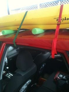 Kayak Tips And Tricks Kayak Rack, DIY. - Car-Top Kayak Rack for Around Ten Bucks: This instructable will show you how to make a car-top rack for hauling your kayak for about ten dollars. Kayak Rack For Suv, Kayak Roof Rack, Kayak Storage, Kayak Cart, Garage Storage, Storage Rack, Camping En Kayak, Canoe And Kayak, Kayak Fishing
