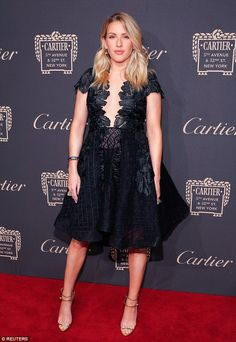 Lovely: Ellie Goulding attended a Cartier Fifth Avenue Mansion grand reopening celebration in New York on Wednesday night