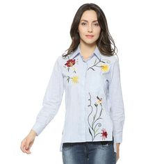 Women's Striped Shirt With Floral Embroidery | Zorket