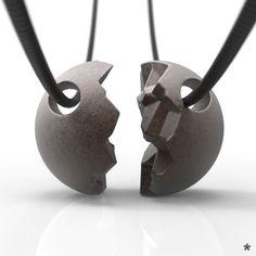 Für dich und deine bessere Hälfte ;) Zusammenpassende Anhänger aus Edelstahl von uns mit Liebe modelliert und mittels 3D Druck für dich produziert :) Gym Equipment, Stainless Steel, Printing, Amor, Workout Equipment, Fitness Equipment