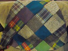 Blanket with up-cycled tweeds and wool plaids - inspiring pic