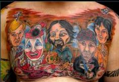 "Serial Killer Tattoos  Many serial killers have tattoos and just as many do not.  Even odder are those who are not serial killers--at least not yet--who tattoo themselves with images of serial killers such as the young woman below.  This tattoo, Serial Killer Last Supper by Parry Chotipradit,took   1st place ""most unusual"" tattoo at the  Baltimore Tattoo Convention in 2010."