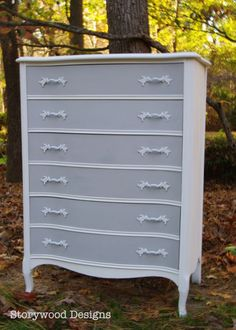 Storywood Designs... A French Provincial Two Toned Dresser. The perfect addition to a nursery. ASCP Pure White and Paris Grey