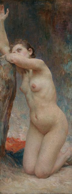 """""""Magdalena"""", óleo sobre lienzo, 138 x 53 cm., 1898.  Colección Galería Moderna (Zagreb) Art History, Impressionist, Sculpture, Mary Magdalene, Illustration, Figure Painting, Painting & Drawing, Portraits, Female Body Art"""