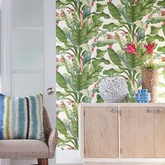 Banana Leaf Wallpaper Wallpaper Online, Sisal, Stripped Wallpaper, Wallpaper