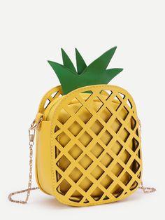 Pineapple Shaped PU Chain Crossbody Bag -SheIn(Sheinside)