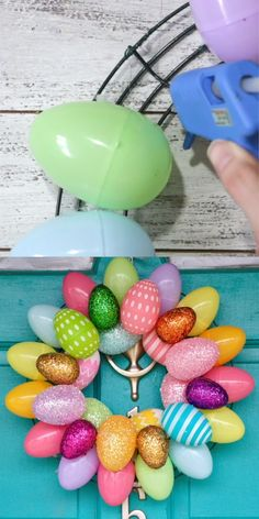 Cute and easy Easter egg wreath - 2 ways!
