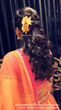 Would be bride's engagement hairstyle by Vejetha for Swank Studio. Photo credit: Manish Ananda. Bridal lehenga. Bridal hair. Curls. Flower hair accessories. Tamil bride. Telugu bride. Kannada bride. Hindu bride. Malayalee bride. Find us at https://www.facebook.com/SwankStudioBangalore