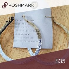 Anthropologie earrings NWT GOLD AND SILVER HAMMERED LARGE HOOPS Anthropologie Jewelry Earrings