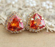 Orange Swarovski Crystal stud earring bridesmaids gifts by iloniti