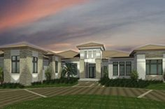 Transitional home with stone details | MHK Architects | Naples, Florida