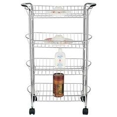zenith products chapter rolling bathroom cart on wheels satin