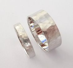 Wedding rings set white gold wedding band set men and women flat