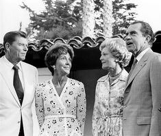 U.S. President Richard Nixon and First Lady Pat Nixon meet with California Governor Ronald Reagan and his wife Nancy, July 1970.