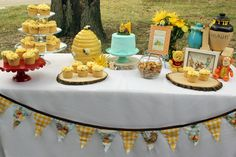 winnie the pooh birthday dessert table bumble bees hunny pots cupcakes 100 aker woods